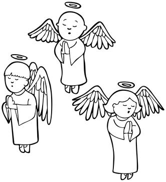 Angels praying - black and white