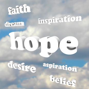 Hope Words in Sky Faith Belief Inspire Aspirations