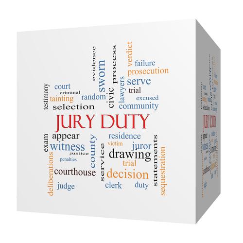 Jury Duty 3D cube Word Cloud Concept